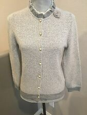 Rare J. Crew Grey Chiffon Ruffled Neck Chevron Pattern Cardigan Sweater Small