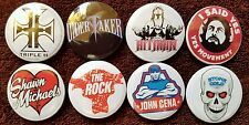 Retro WWE (WWF) Wrestling Button Badges x 8. Pins. Job Lot. Collector.  Bargain
