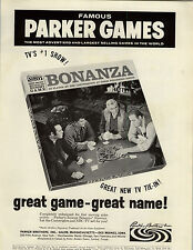 1964 PAPER AD Parker Brothers Bonanza Board Game Cartwright Ponderosa Hoss