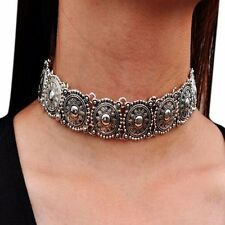 Vintage Silver Plated Chunky Metal Choker Statement Bib Necklace Jewelry Gift