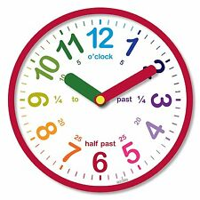 Acctim Lulu Children Wall Clock Time Teaching Learning Red White 26cm 21884