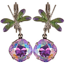 NEW KIRKS FOLLY DEW DROP DRAGONFLY LEVERBACK EARRINGS  ST/VIOLET AB