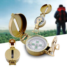 Portable Classic Brass Pocket Watch Military Army Style Camping Hiking Compass