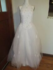 Davids Bridal white halter top princess gown wedding dress lace + beads size 4