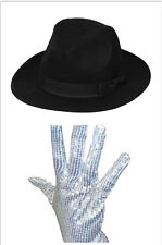 Men Ladies Michael Jackson Silver Sequin Glove Al Capone + Jazz Bowler Derby Hat