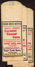 LOT/3 WAXED PAPER BAGS*ST LOUIS*MO*FRANK'S CARAMEL CORN*SUGAR CREEK BUTTER