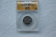 Australia 1 Shilling 1913, graded AU-50 details(Scratched) by ANACS, a rare coin