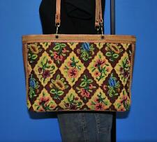 ISABELLA FIORE Floral Beaded Quilted Retro Brown Leather Purse Shoulder Bag Tote