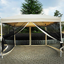 Outdoor Gazebo Canopy 10' x 10' Pop Up Tent Mesh Screen Patio Shade tan