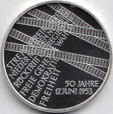 10 Euro Gedenkmünze 50 Jahre Volksaufstand 2003 Polierte Platte Silber 925/-