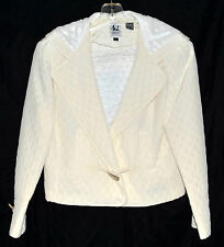 Emme Elle ML White Quitted Silk Womens Hooded Jacket with Toggle Clasp Sz 6