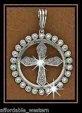 Rhinestone Cowgirl~CRYSTAL CROSS~Western Pendant Silver 82