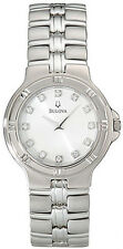 BULOVA DRESS WHITE DIAL DIAMONDS ACCENT STAINLESS STEEL MEN'S WATCH 96D04 NEW