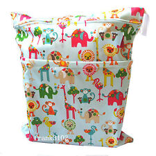 Wet Dry Bag Baby Cloth Diaper Nappy Bag Waterproof Reusable Animal Two Zippers