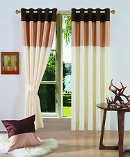 NEW LOUNGE BEDROOM EYELET PANEL CURTAINS BROWN GOLD CREAM 66 X 72 WITH TIEBACKS
