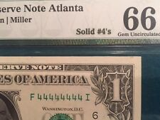 Fancy $1 Serial Number Solid 4's, 44444444 Gem 66 PMG Fr 1910 F Rare and Fancy