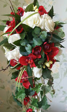 Ivory Rose Orchid Brides Cascading Wedding Bouquet Flowers Real Touch Silk Posy