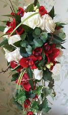 Avorio Rosa Orchidea SPOSE A CASCATA Matrimonio Bouquet Fiori Vero Tocco di Seta Posy