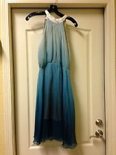 Gorgeous New Ombre blue silk chiffon dress size small; NEW $240