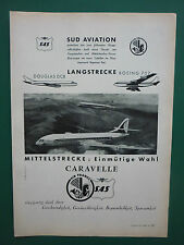 10/1957 PUB SUD AVIATION CARAVELLE AIRLINER AIR FRANCE SAS AIRLINES GERMAN AD