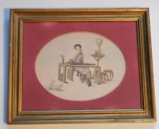 Chinese Picture Woman Instrument Rabbits Red Velvet Matte Wood Frame Vintage