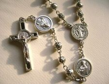 SILVER Rose beads St.Benedict Rosary & Crucifix Cross catholic necklace gift