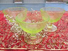 Vintage Vaseline Glass By Cracky Fruit/Sherbert L E Smith USA