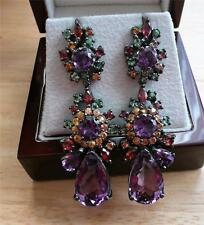 AMETHYST GREEN GARNET SAPPHIRE 925 STERLING SILVER DESIGNER LONG DROP EARRINGS
