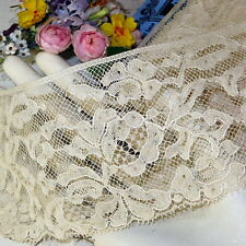 "1y ANTIQUE FRENCH 3"" WIDE FLORAL ROSE LACE Ivory VICTORIAN EDWARDIAN DRESS DOLL"