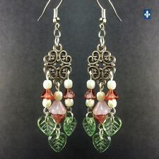 ♥ Stunning Long Pink Czech Glass Leafs & Elements Plated Silver Earrings
