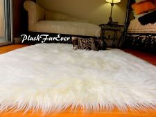 58 x 60 Ivory White Mongolian Plush Fur Rug Modern Rectangle Sheepskin Faux Fur