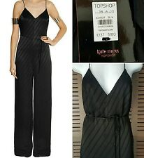 NWT Kate Moss X Topshop Black Satin Striped Jumpsuit Sold Out $180 Sz 6/S 38