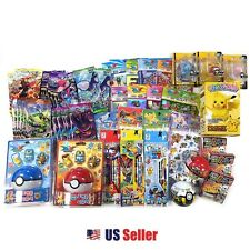 Pokemon 10 Assorted Toy Sticker Card Pokeball School Supply Stationary Gift Set