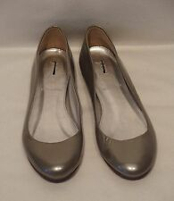 J. Crew Metallic Pewter Gray Patent Leather Ballet Flats, Size 5, New