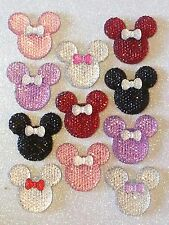 USA** 34mm Rhinestone Bow Minnie Mickey Mouse 11 PIECES Flatback Resin Cabochons