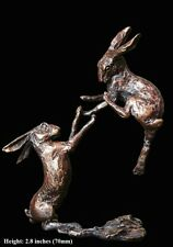 Boxing Hares Solid Bronze Foundry Cast Sculpture by Butler And Peach (2012)