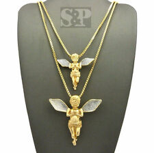 Hip Hop Iced Out Baby Praying Angel Pendant W/ Box Chain 2 Necklace Set RC1845GR
