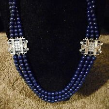 Lia Sophia navy 3 strand beads with silver a navy accent so pretty