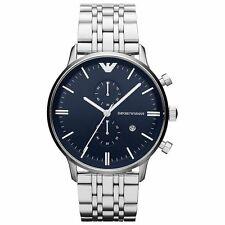 Emporio Armani AR1648 Classic Dark Blue Chrono Stainless Steel Mens Watch Nuevo