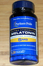 Puritans Pride Melatonin 5mg 120 Easy to swallow Coated Tablets (New in Bottle)