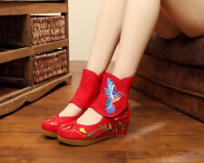 Womens Casual Chinese Embroidered Floral Flat Shoes Wedges Dance Cloth Boots