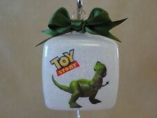 "Handmade Disney Toy Story ""Rex"" 3"" Square Glass Ornament~Made In The USA!, NEW!!"
