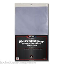 1 Pack 100 BCW Newspaper Sleeve Bags Storage Holder Protection 12 1/8 x 16 3/8""