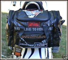 Leather sissy bar bag rectangulare with eagle live to ride patch for motorcycle