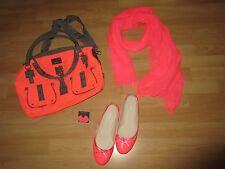 Set Tasche Schuhe Ballerinas Gr. 38 Blumen Ohrstecker Schal Halstuch Neon Orange