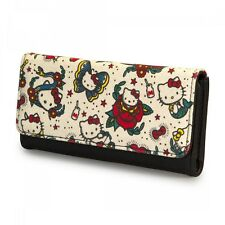 NWT Loungefly Hello Kitty Tattoo Canvas Ivory Trifold Wallet