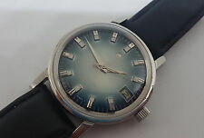 USED VINTAGE ENICAR STARJEWELS TWOTONE BLUE DIAL MANUAL WIND MAN'S WATCH