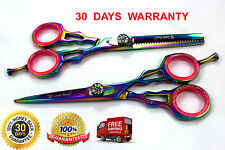 Professional Salon Shear Hair Cutting Scissor Set, Titanium Multi Color 5.5""