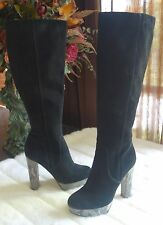 Michael Kors Lesly Black Suede Leather Knee High Boots Heel  sz 5M $325
