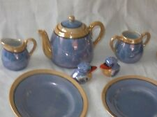 Vintage Blue Lustre W/Peach Japan Childs Toy Teaset Tea Set W/Salt Pepper Shaker